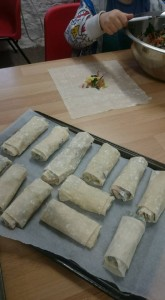 MAKING SPRING ROLLS FOR CHINESE NEW YEAR